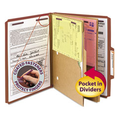 SMD14079 - Smead® 6-Section Pressboard Top Tab Pocket-Style Classification Folders with SafeSHIELD™ Coated Fastener