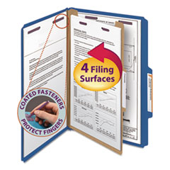 SMD18732 - Smead® 4-Section Pressboard Top Tab Classification Folders w/SafeSHIELD™ Coated Fastener