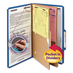 SMD19077 - Smead® 6-Section Pressboard Top Tab Pocket-Style Classification Folders with SafeSHIELD™ Coated Fastener