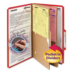 SMD19082 - Smead® 6-Section Pressboard Top Tab Pocket-Style Classification Folders with SafeSHIELD™ Coated Fastener