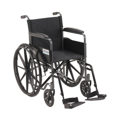 SSP118FA-SF - Drive MedicalSilver Sport 1 Wheelchair with Full Arms and Swing away Removable Footrest