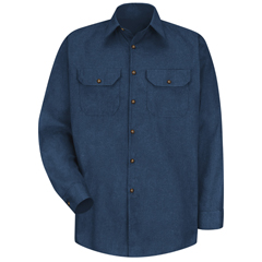 UNFSH10NV-RG-L - Red KapMens Heathered Poplin Uniform Shirt