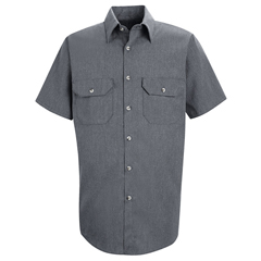UNFSH20NV-SS-XL - Red KapMens Heathered Poplin Uniform Shirt
