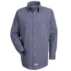 UNFSP10EX-RG-L - Red KapMens Micro-Check Uniform Shirt