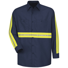 UNFSP14EN-RG-M - Red KapMens Enhanced Visibility Industrial Work Shirt