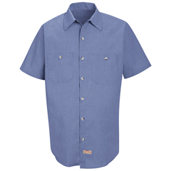 UNFSP24DN-SS-L - Red KapMens Geometric Micro-Check Work Shirt