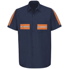 UNFSP24ON-SS-S - Red KapMens Enhanced Visibility Shirt