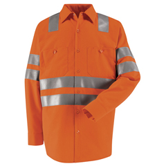 UNFSS14OF-LN-XL - Red KapMens Hi-Vis Work Shirt - Class 3 Level 2