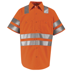 UNFSS24OF-SS-L - Red KapMens Hi-Vis Work Shirt - Class 3 Level 2