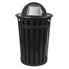 WITM5001-DT-BK - Witt IndustriesOakley Collection Slatted Metal Receptacle with Dome Top
