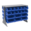 Akro-Mils Double-Sided Low Profile Louvered Floor Rack with Shelf and Blue Bins AKR 30606GYASSTB