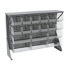Akro-Mils Single-Sided Low Profile Louvered Floor Rack with Shelf and Clear Bins AKR 30650GYASSTSC