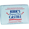 soaps and hand sanitizers: Kirk's Natural - Soap Bar - Coco Castile - Fragrance Free - 3 Count - 4 oz