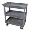 Janitorial Carts, Trucks, and Utility Carts: Luxor - Gray 3 Tub Cart W/ SP5 Casters