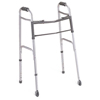 Medline 2-Button Folding Walker with 3 Wheels MED MDS86410WH