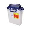 BD Pharmaceutical Waste Container Horizontal Drop 16 x 13-1/2 x 6 3 Gallon White Base Blue Lid Counter Balanced Lid MON 37572802