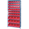 Quantum Storage Systems Wire Shelving Unit with Store-More Bins QNT QSBU 230240 RD