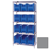 Quantum Storage Systems Wire Shelving Unit with Giant Open Hopper Bins QNT WR5-600GY-EA