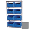Quantum Storage Systems Wire Shelving Unit with Giant Open Hopper Bins QNT WR5-700GY-EA