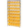 Quantum Storage Systems Wire Shelving Unit with Store-More Bins QNT WR9-202YL-EA
