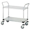 Quantum Storage Systems 1 Wire Shelf & 1 Solid Shelf Mobile Utility Cart QNT WRC-2448-2CG-EA