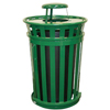 Witt Industries Oakley Collection Slatted Metal Receptacle with Rain Cap WIT M5001-RC-GN