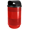 Steel Receptacles With Hooded Top: Witt Industries - 55 Gallon Stadium Series Perforated Receptacle