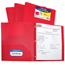 C-Line Products 2-Pocket Heavyweight Poly Portfolio Folder w/Prongs, Red CLI33964BNDL12EA