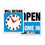 U.S. Stamp & Sign Headline® Sign Double-Sided Open/Will Return Sign with Clock Hands USS9382