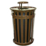 Witt Industries Oakley Collection Slatted Metal Receptacle with Rain Cap WITM5001-RC-BN