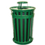 Witt Industries Oakley Collection Slatted Metal Receptacle with Rain Cap WITM5001-RC-GN