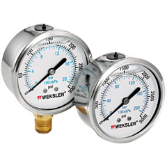 ORS006-BY12YPC4CW - WekslerLiquid Filled Gauges w/Stainless Steel Case