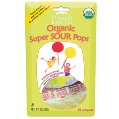 BFG38599 - Yummy EarthSuper Sour Lollipops, Stand Up Pouch