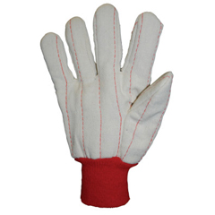 ANR101-1050 - Anchor Brand1000 Series Canvas Gloves, Mens, Off-White, Red Knit-Wrist Cuff