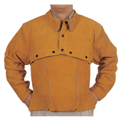 BWL902-Q-2-XL - Best Welds - Leather Cape Sleeves, Snaps Closure, X-Large, Golden Brown