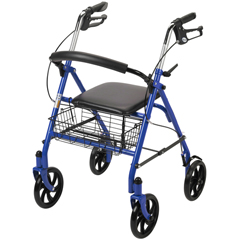 10257BL-1 - Drive MedicalFour Wheel Walker Rollator with Fold Up Removable Back Support