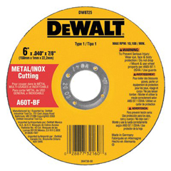 DEW115-DW8725 - DeWaltType 1 Metal Thin Cut-Off Wheels