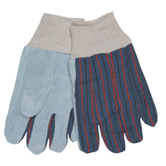 CRW127-1040 - Memphis GloveSplit Shoulder Clute Pattern Gloves, Large, Gray/Blue Gray With Red/Blue Stripes