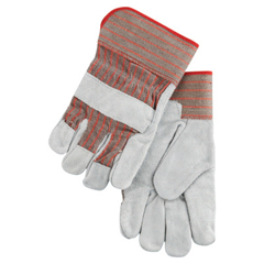 CRW127-1200S - Memphis GloveIndustrial Standard Shoulder Split Gloves, Large, Leather, Red And Gray Fabric