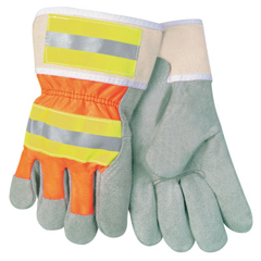 CRW127-12440RL - Memphis GloveLuminator Leather Palm Gloves, Large, Leather/Nylon, Orange/Gray
