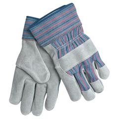 CRW127-1300XL - Memphis GloveLeather Palm Chore Gloves, X-Large, Gray/Blue/Red/Black