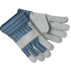 CRW127-1400A - Memphis GloveSelect Split Cow Gloves, Large, Blue Fabric W/Yellow Stripes