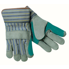 CRW127-1411A - Memphis GloveSelect Split Cow Gloves, Large, Blue Fabric W/Yellow Stripes