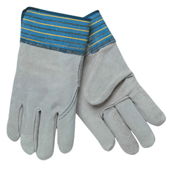 CRW127-1417XL - Memphis GloveSelect Split Cow Gloves, X-Large, Gray/Blue With Blue/Yellow/Black Stripes