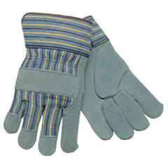 CRW127-1450L - Memphis GloveSelect Split Cow Gloves, Large, Leather, Gray/Brown W/Blue/Yellow/Black Stripes