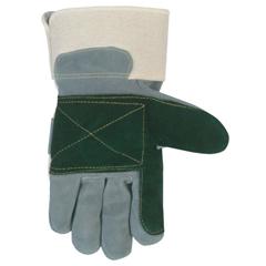 CRW127-16012XL - Memphis GloveSidekick Double Select Side Leather Gloves, X-Large, Gray/White/Dark Green