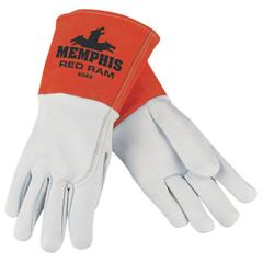 CRW127-4840M - Memphis GloveRed Ram Mig/Tig Welders Gloves, Grain Goat Skin, Med, White/Russet
