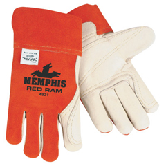 CRW127-4921 - Memphis GloveCow Mig/Tig Welders Gloves, Premium Grade Cowhide Leather, Large, White/Russet
