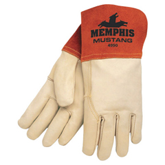 CRW127-4950S - Memphis GloveMustang Welding Gloves, Small, Russet/Beige