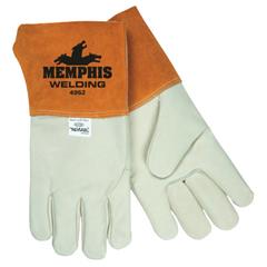 CRW127-4952L - Memphis GloveGrain Cow Mig/Tig Welders Gloves, Grain Cow Leather, Large, Russet/Cream